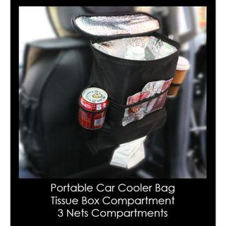 Portable Car Cooler Bags | 3 Nets & Tissue Box Compartment | Adjustable Strap With Buckle | Black