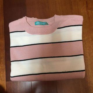 粉色珍珠音調條紋毛衣