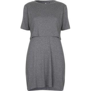 NEW LOOK Grey Marl overlay tee dress