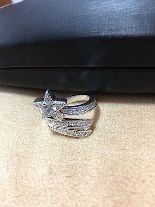 Rhinestones Silver Ring