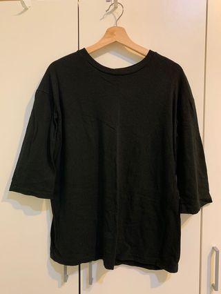🚚 七分袖黑色寬鬆上衣