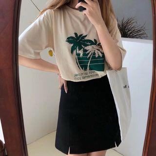 🔥(Brown/White) Palm Tree Summer Ulzzang Top