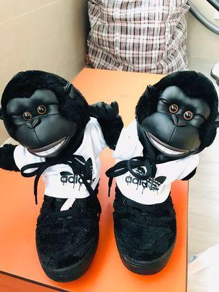 Adidas Jeremy Scott Gorilla black sneakers 波鞋 36.5 95%new