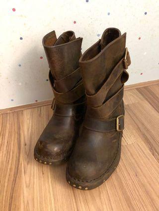 Jeffrey Campbell 真品 咖啡色 機車靴 工程靴 短靴 皮靴 卯釘靴 皮帶靴 綁帶靴