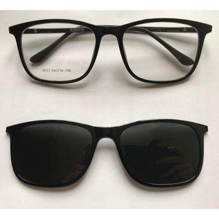 二合一偏光灰色夾片方形亮黑色眼鏡(D57)