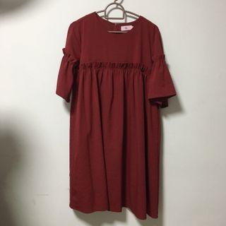 🚚 Hollyhoque Fawn Ruche Dress in Wine Red