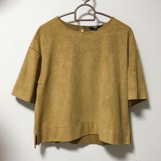 🚚 Uniqlo Velvet Top in Mustard