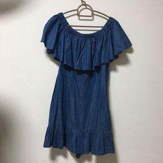 🚚 Off Shoulder Navy Blue Dress