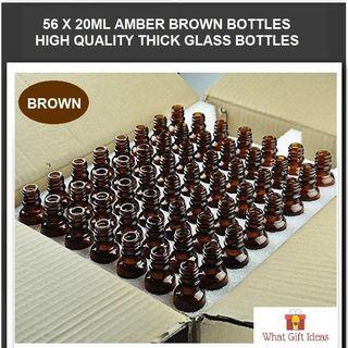 56 x 20ML Wholesale Amber Brown Glass Bottles | 20ML Glass Bottles | 20ML Wholesale Bottles