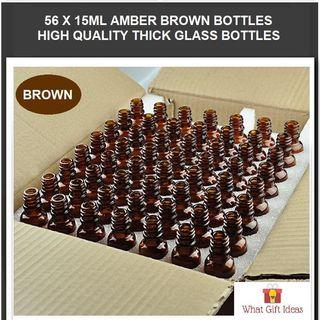 🚚 56 x 15ML Wholesale Amber Brown Glass Bottles | 15ML Glass Bottles | 15ML Wholesale Bottles