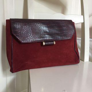 Red Wine Handbag/ Clutch/ Notebook bag 手袋 電腦袋 包包 紅酒色 from UK