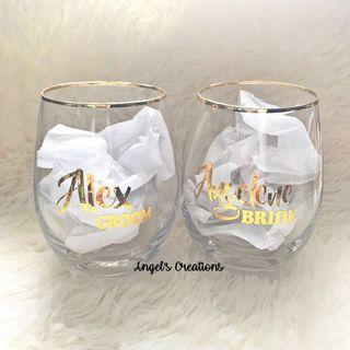 🚚 Personalized/Customized Gold Trim Glass Cup