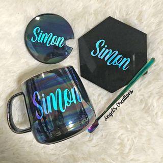 🚚 Personalized/Customized Pearl Colour Ceramic Mug Gift Set