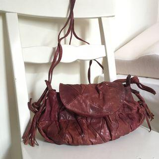 Leather Handbag 純皮 羊仔皮 斜孭袋 手提包 (Purple)