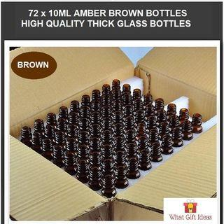 72 x 10ML Wholesale Amber Brown Glass Bottles | 10ML Glass Bottles | 10ML Wholesale Bottles