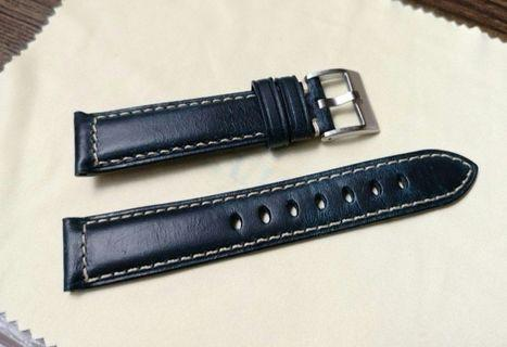 [Brand New] Hand Made 20mm Oiled Calf Leather Watch Strap with Tang Buckle