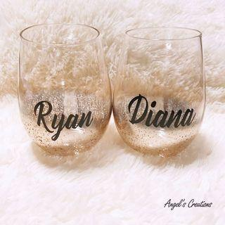 Personalized/Customized Glitter Glass Cup