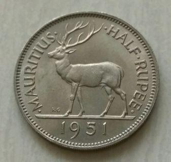 Mauritius 1951 1/2 Rupee Unc Coin With Luster