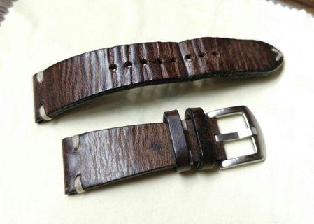 [Pre-Owned] High Quality 20mm Vintage Leather Watch Strap with Buckle