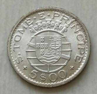Saint Thomas & Prince Island 1962 5 Escudos Silver Unc Coin With Luster.Mintage 88000 pcs
