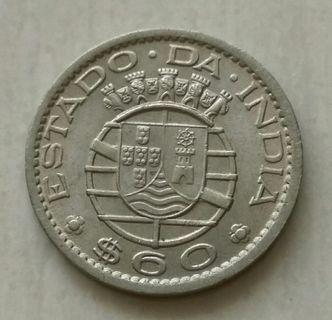 India-Portuguese 1959 60 Centavos Unc Coin With Luster