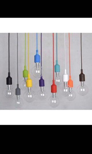 Hanging coloured light cords (with light bulb)