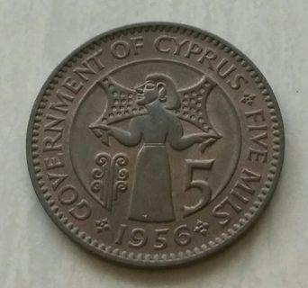 Cyprus 1956 5 Mils Unc Coin