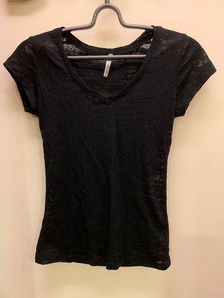 🚚 黑色半透明女生合身上衣