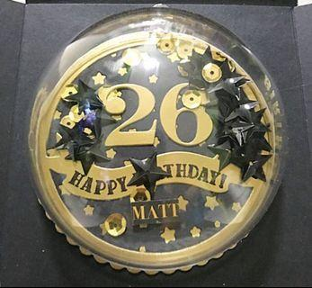 Happy 26 birthday explosion Box Card in Gold and black