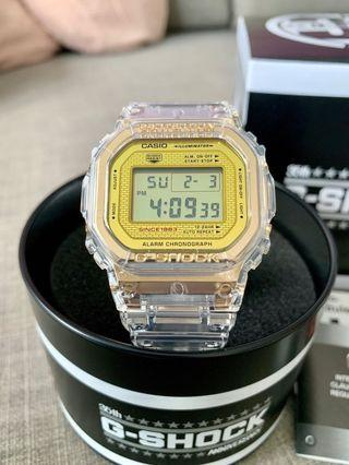 Casio G-Shock Glacier Gold Series 35th Anniversary Limited Edition DW-5035E-7 Transparent Gold Square Classic Watch