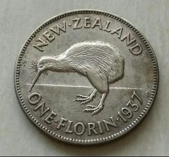New Zealand 1937 Florin Silver Coin With Good Details