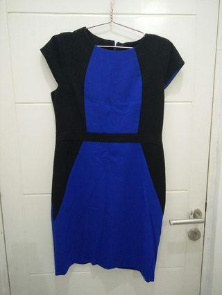 Slimming Effect Blue Dress