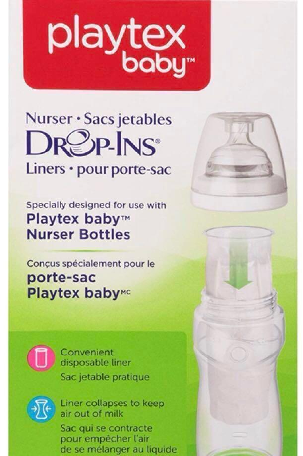 New Free Shipping. 100 Count 8-10 oz Playtex Nurser Bottle Liners Drop-Ins