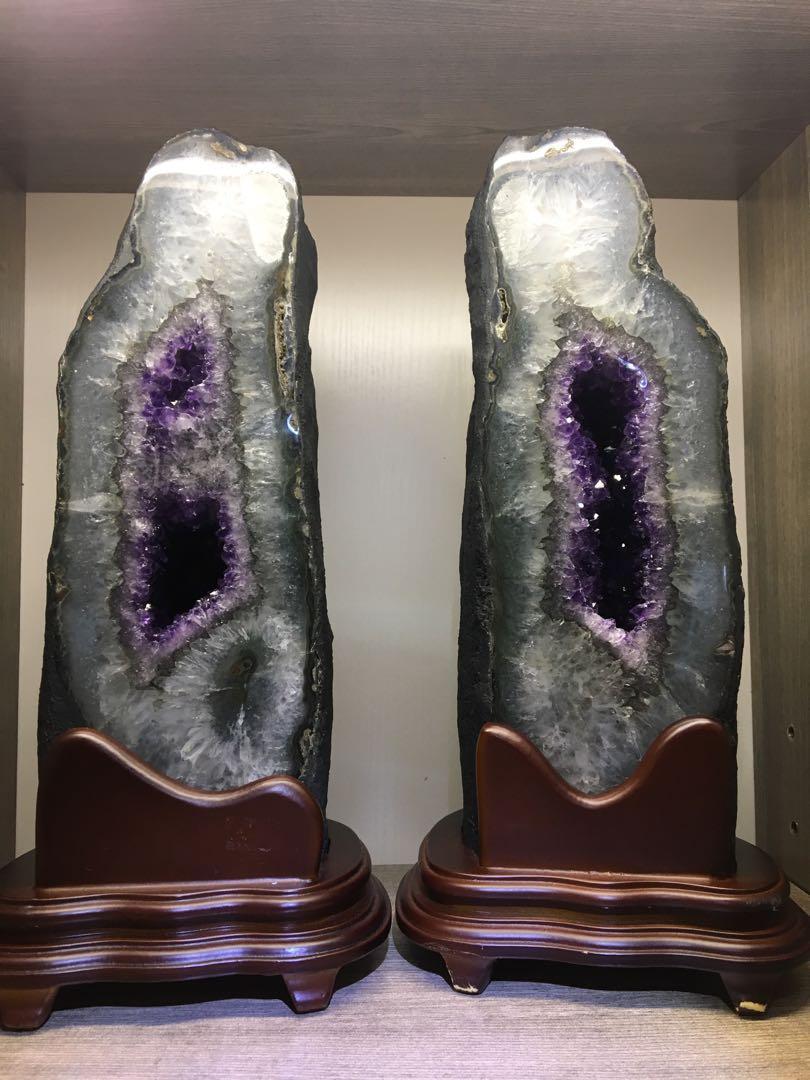 稀有䔝水晶洞(對洞)特價