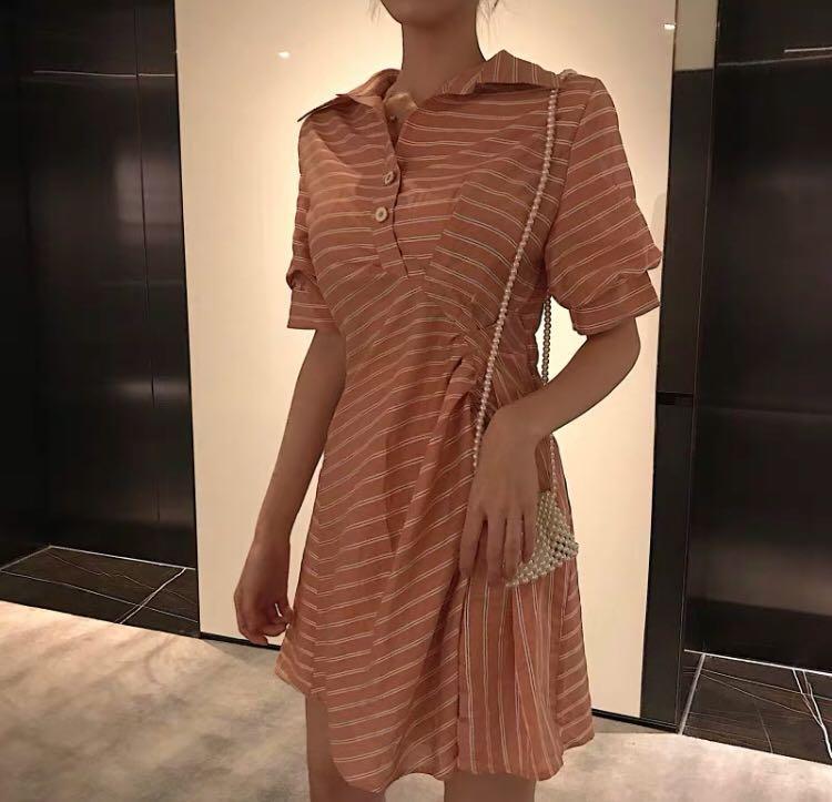 复古修腰連身裙