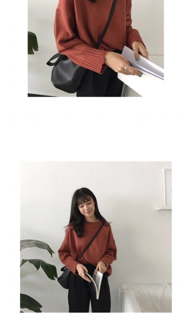 全新磚紅色甜美花邊領袖套頭冷衫 毛衣