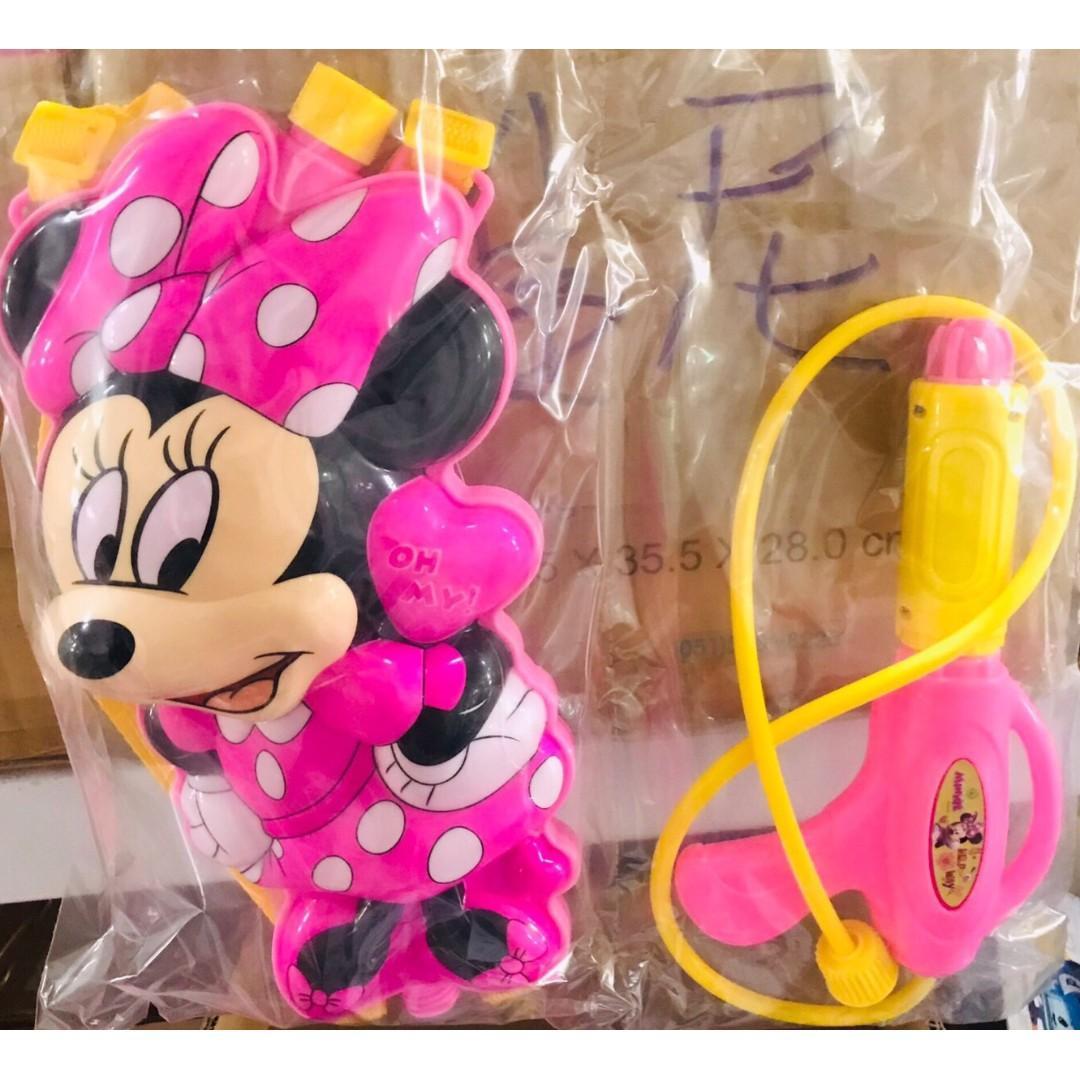 迪士尼 迷你 米妮背包水槍 噴上玩具