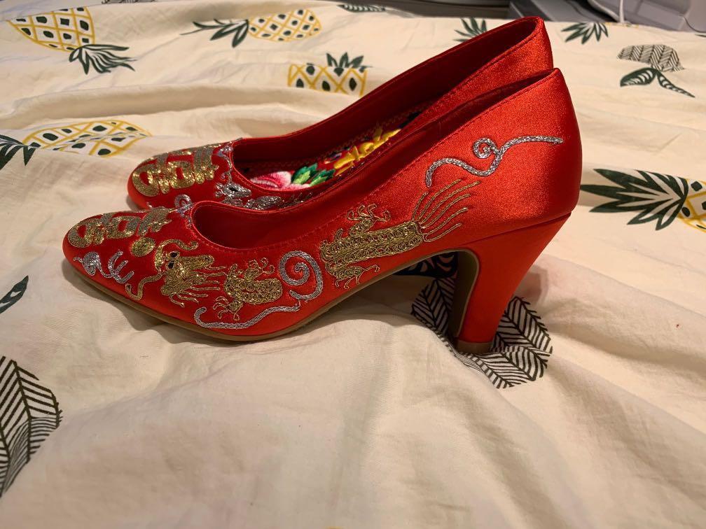 結婚繡花鞋 已有鞋墊 size37
