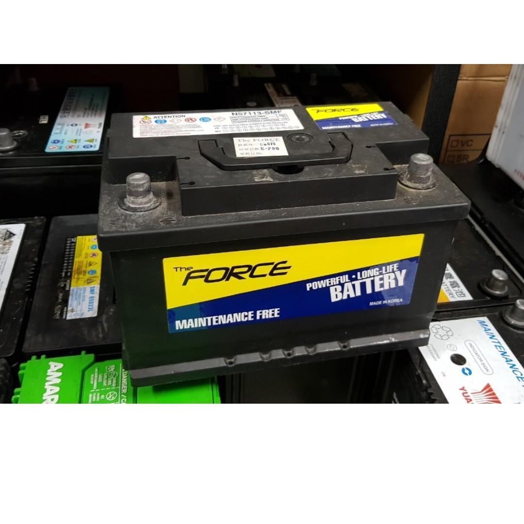 (二手中古電池) FORCE 57113 免保養汽車電池 數值漂亮,品項優 同56638 57220歐系車專用