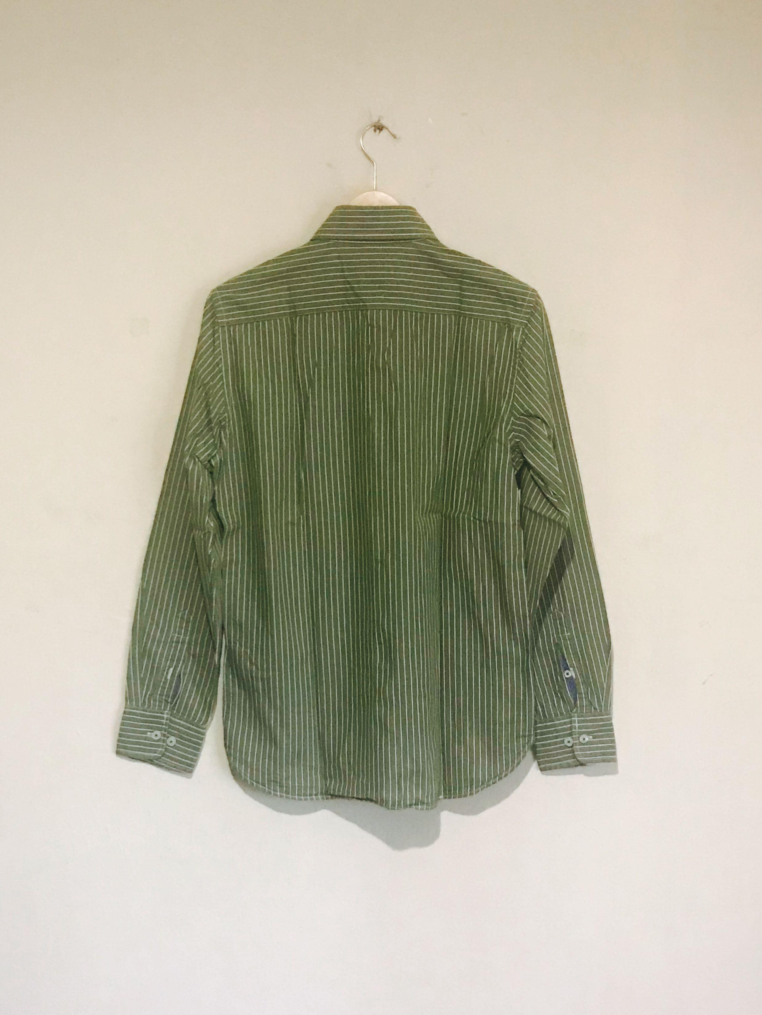 American Eagle Cool Green Stripe Vintage Fit Shirt #mauvivo