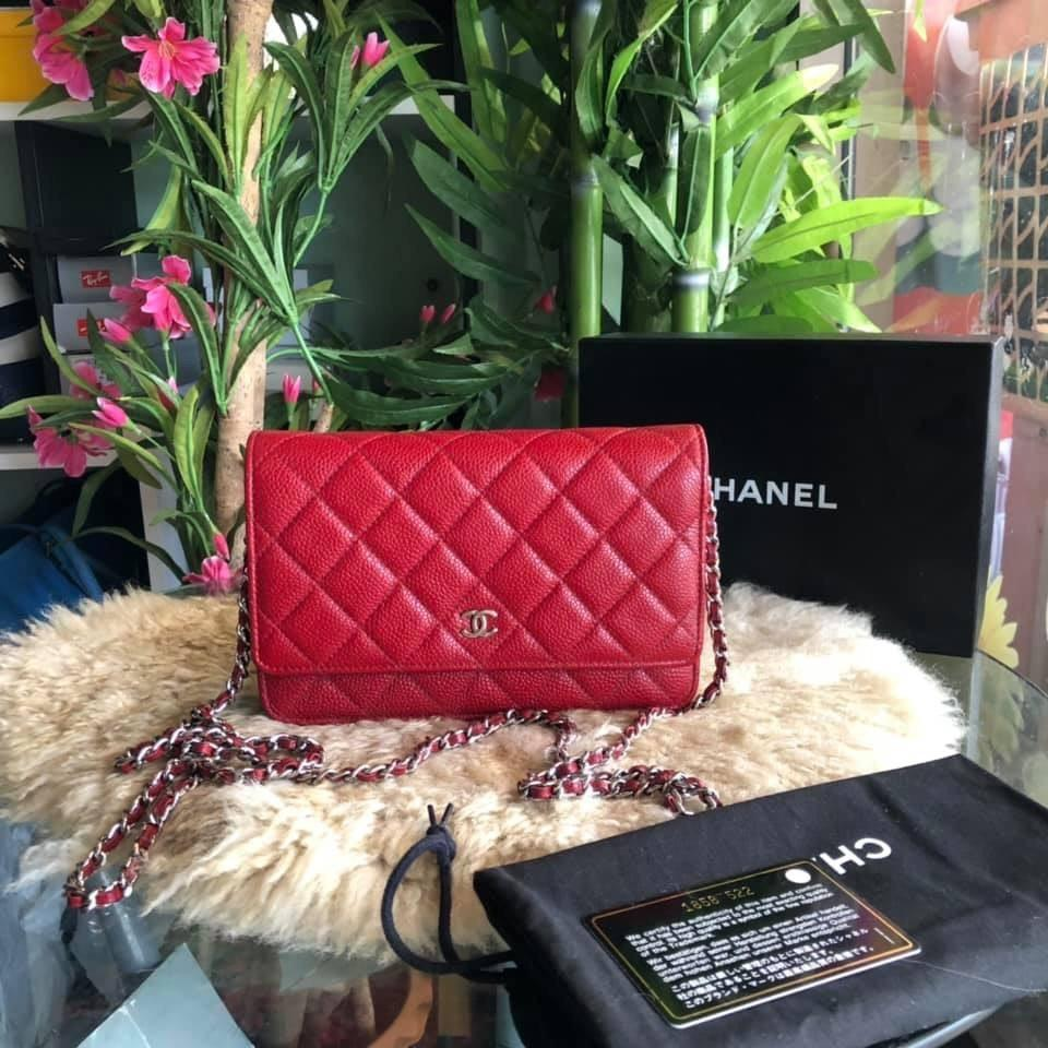 Authentic Chanel wallet on chain WOC Red Caviar bag