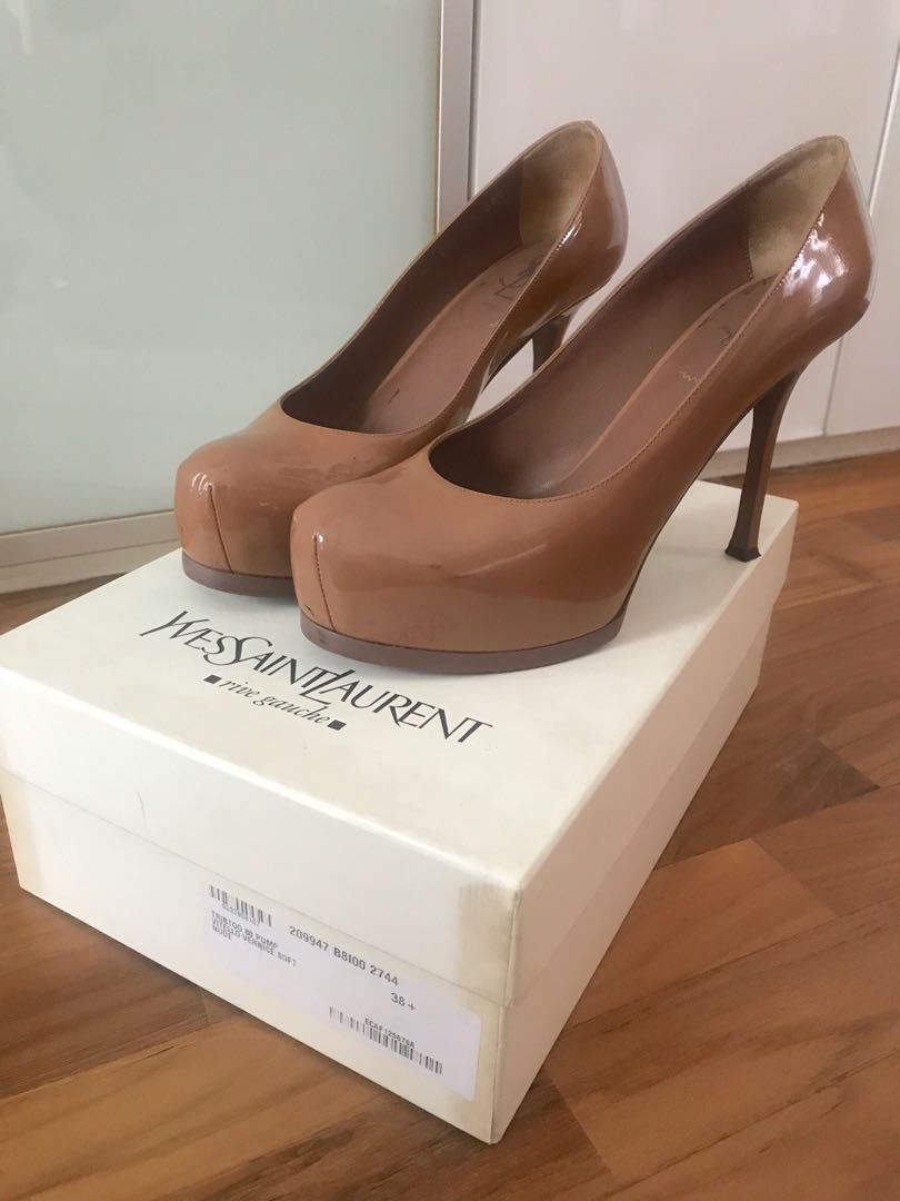 6c8053c6046 Authentic YSL Tribtoo pumps/heels in nude size 38.5, Women's Fashion ...