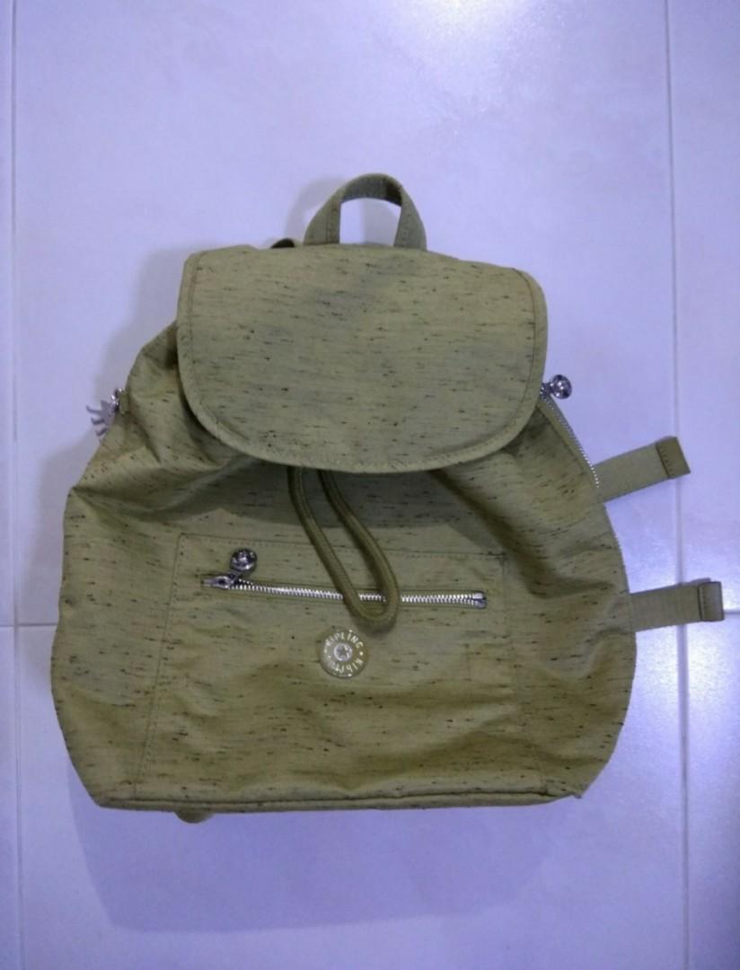 6b6695fb9f8 BN authentic kipling backpack in khaki green, Women's Fashion, Bags ...