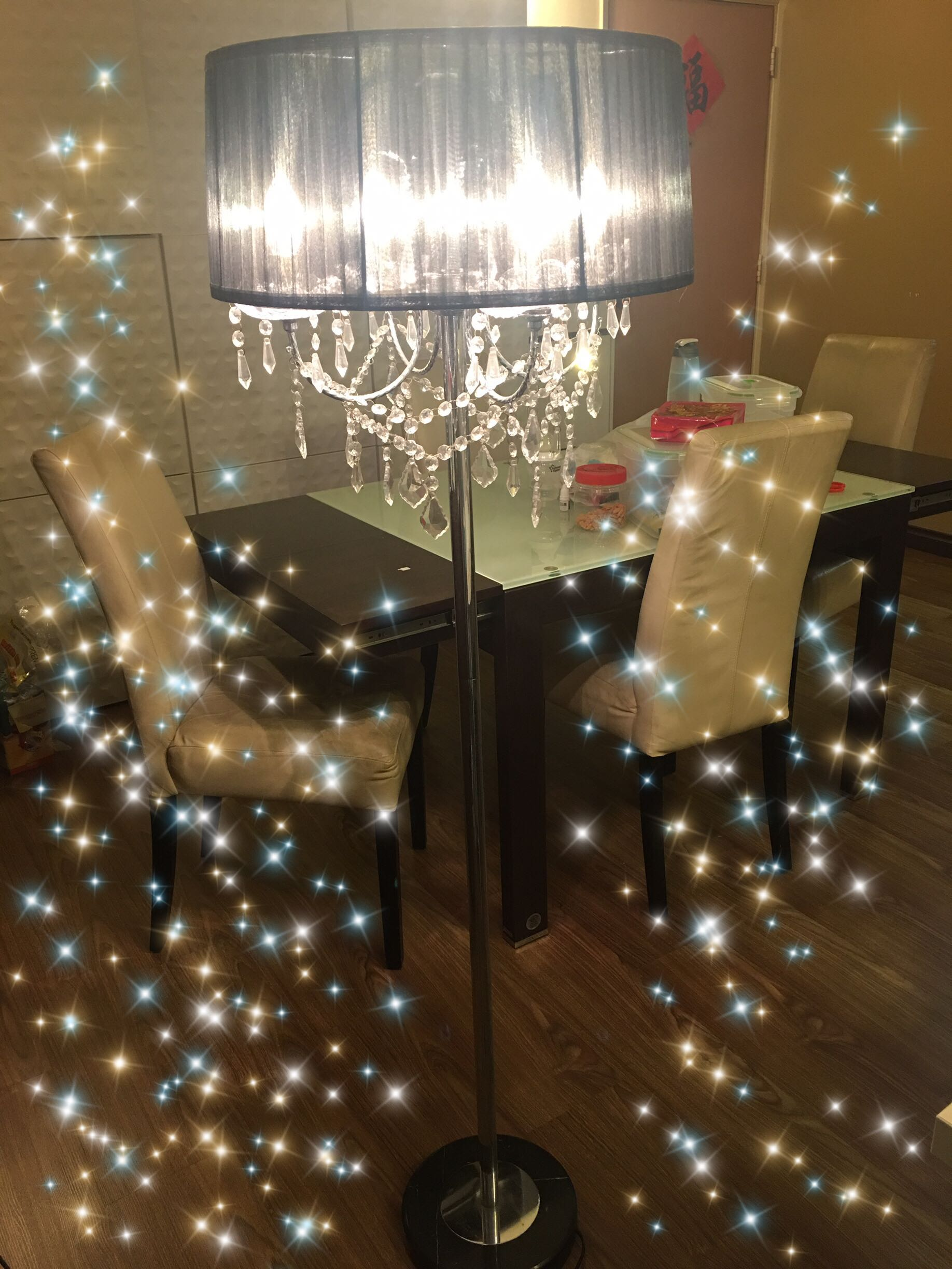 Candle crystal chandelier floor lamp stand