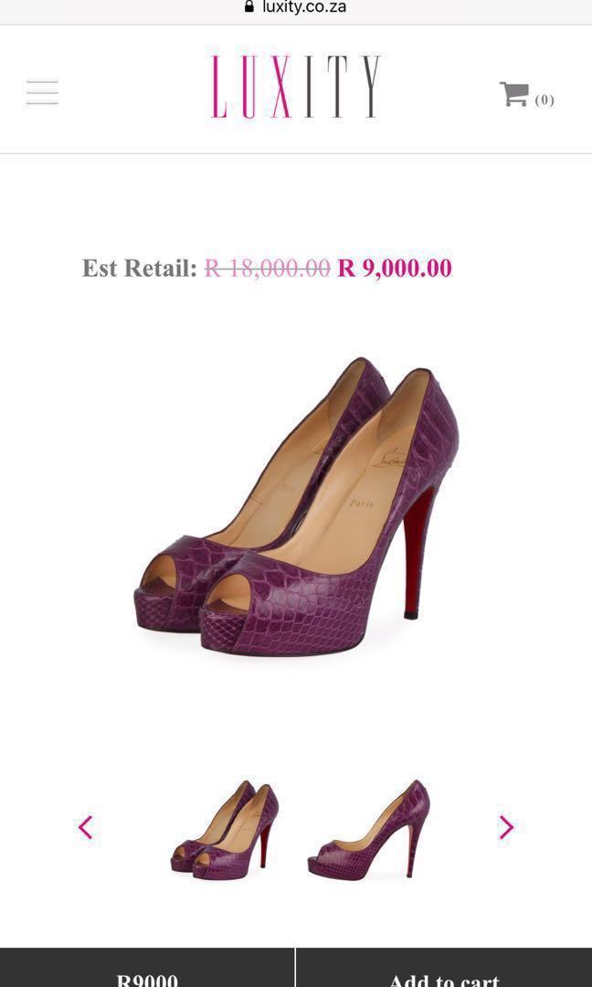 Christian Louboutin Purple Phyton Platform Peep-toe Pumps sz eur 38