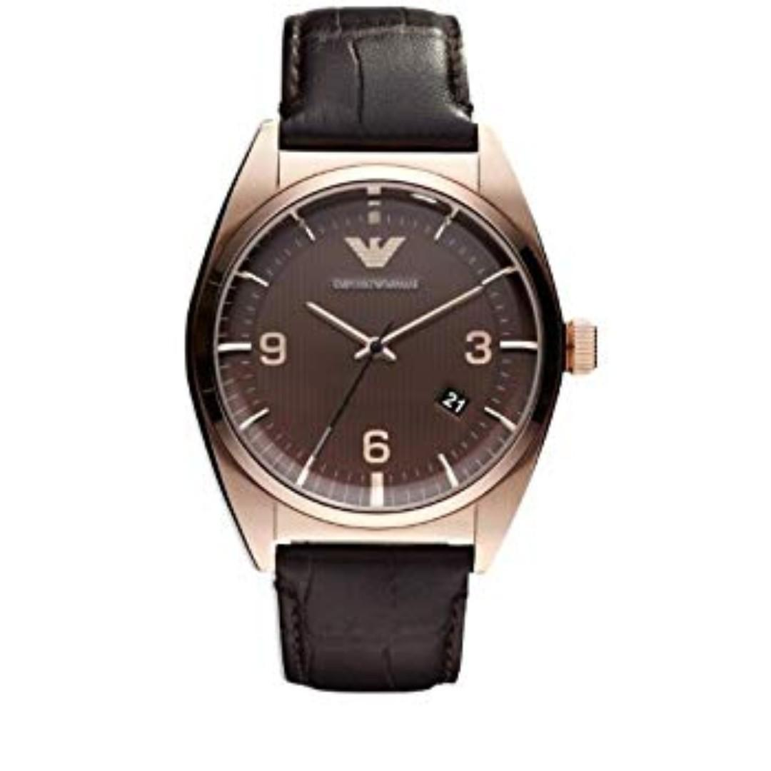 Emporio Armani Classic Brown Leather Band Men's Watch AR0367