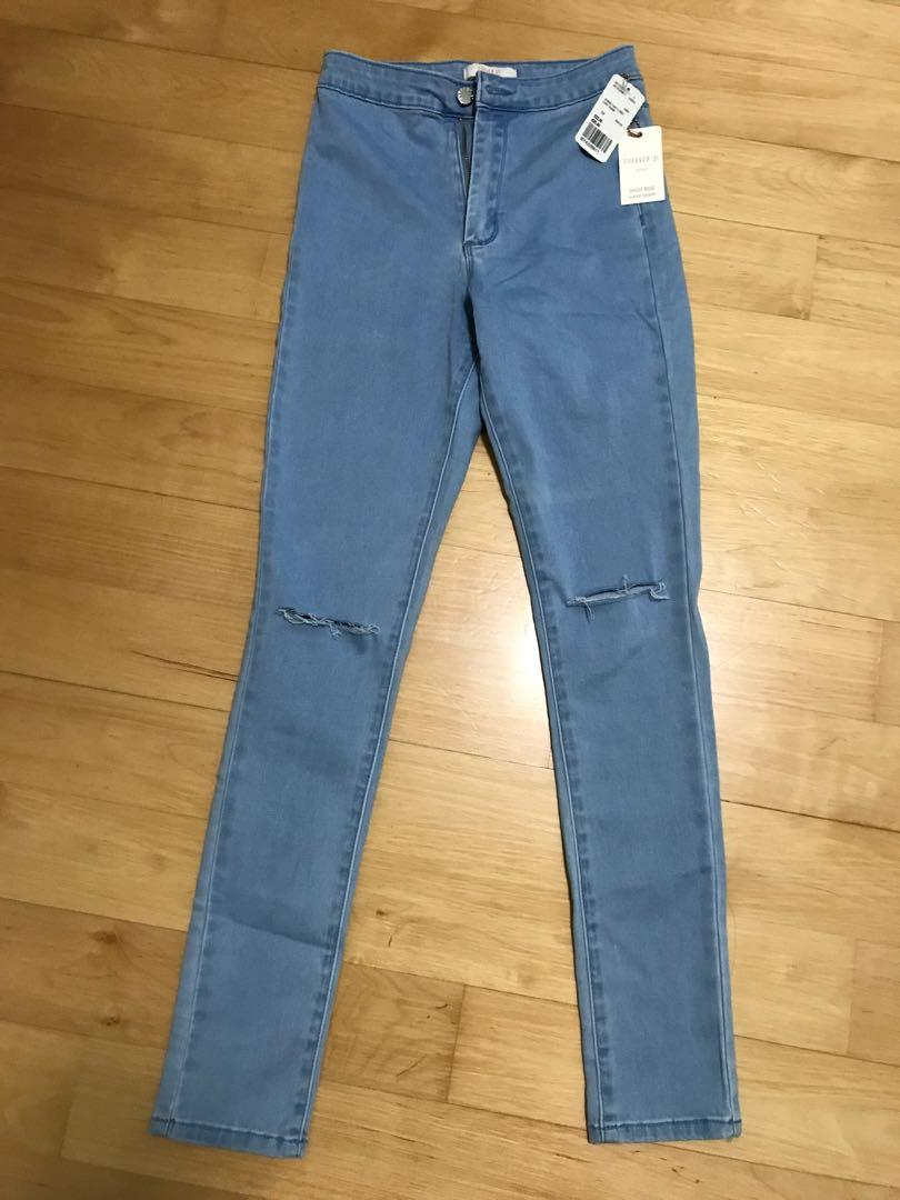 F21 cut out distressed skinny jeans