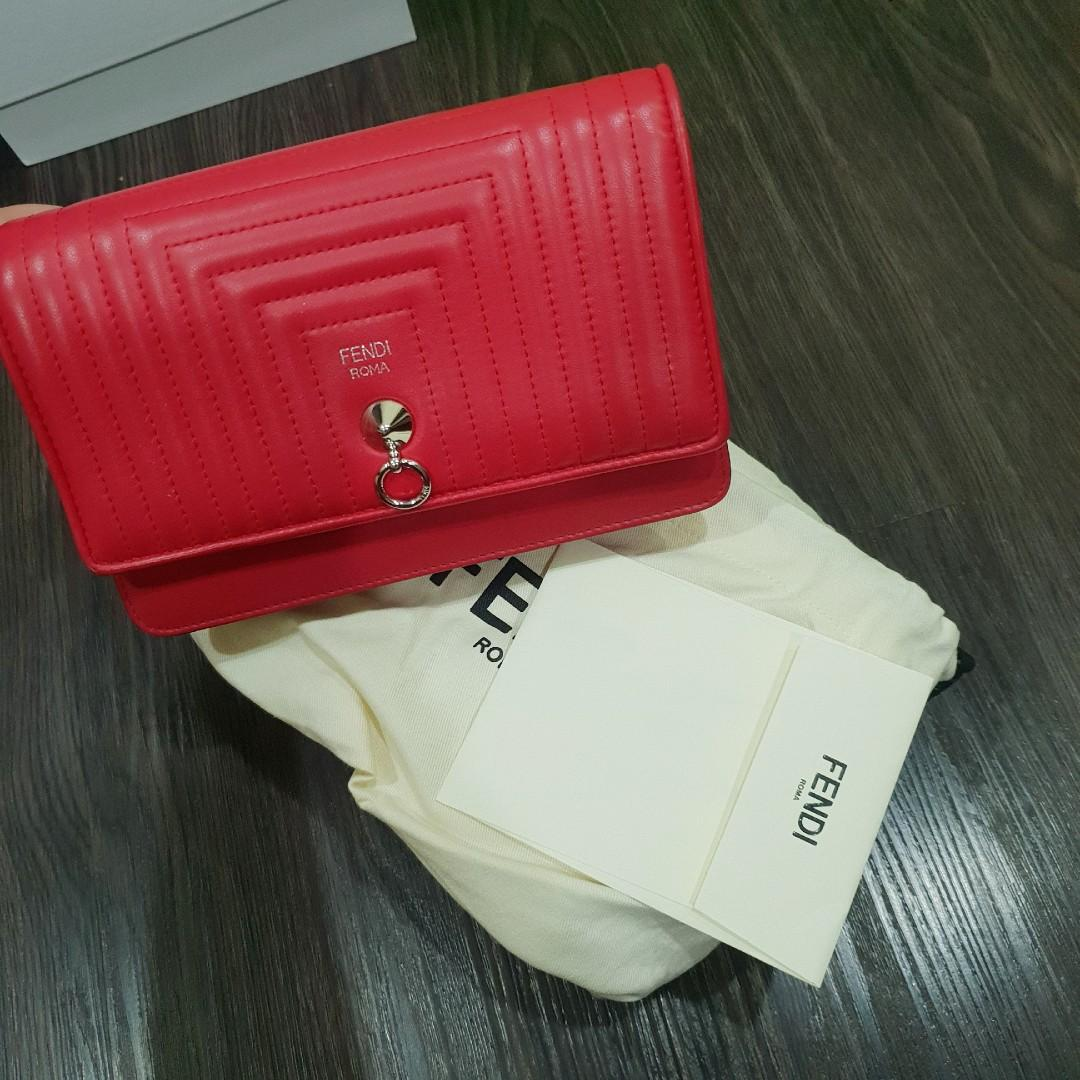 4a9fc75186 Fendi Red leather wallet on chain/sling bag, Luxury, Bags & Wallets ...