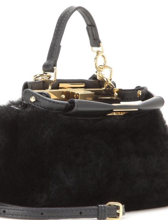 Fendi shearling micro peekaboo black
