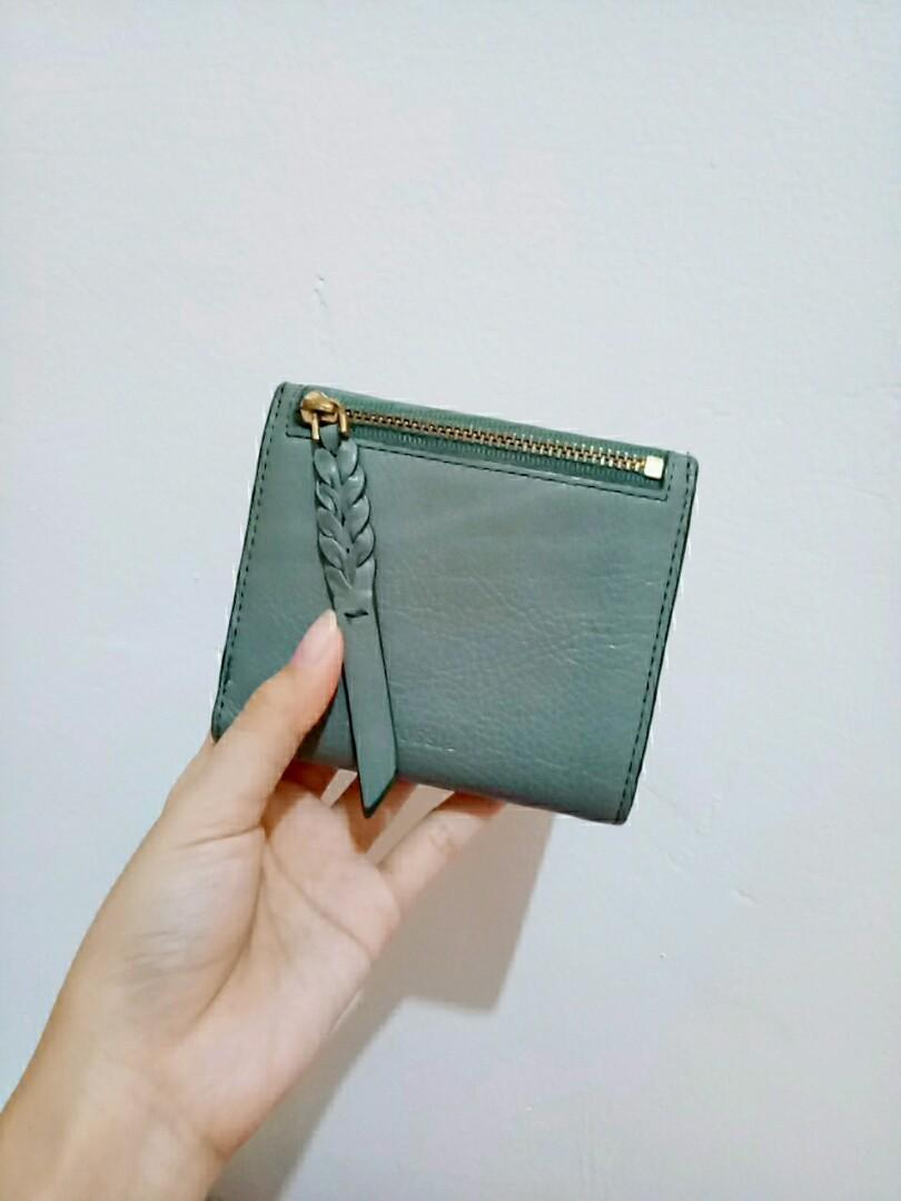 Fossil Caroline Wallet Bifold Misty Jade Leather Zip RFID Womens